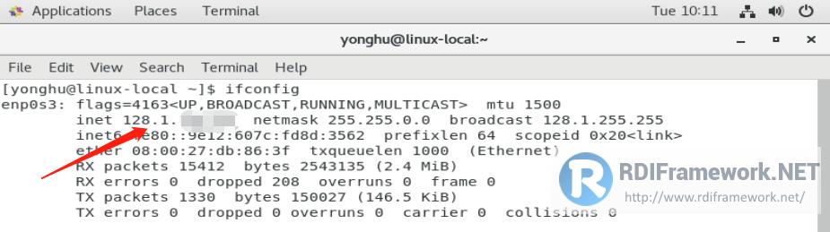 ifconfig命令获取IP地址