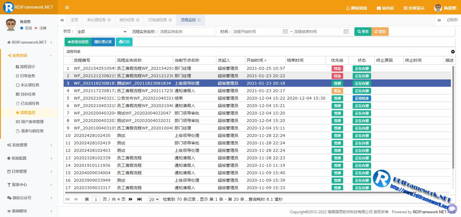Web业务平台-流程监控